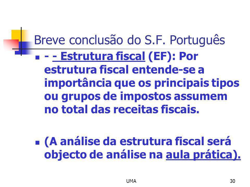 UMA30 Breve conclusão do S.F. Português - - Estrutura fiscal (EF): Por estrutura fiscal entende-se a importância que os principais tipos ou grupos de
