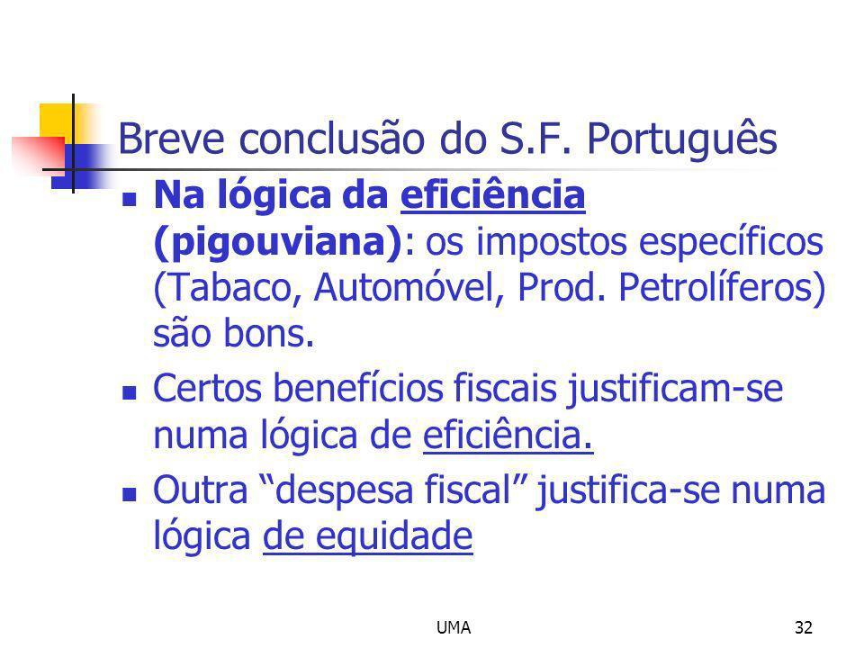 UMA32 Breve conclusão do S.F. Português Na lógica da eficiência (pigouviana): os impostos específicos (Tabaco, Automóvel, Prod. Petrolíferos) são bons