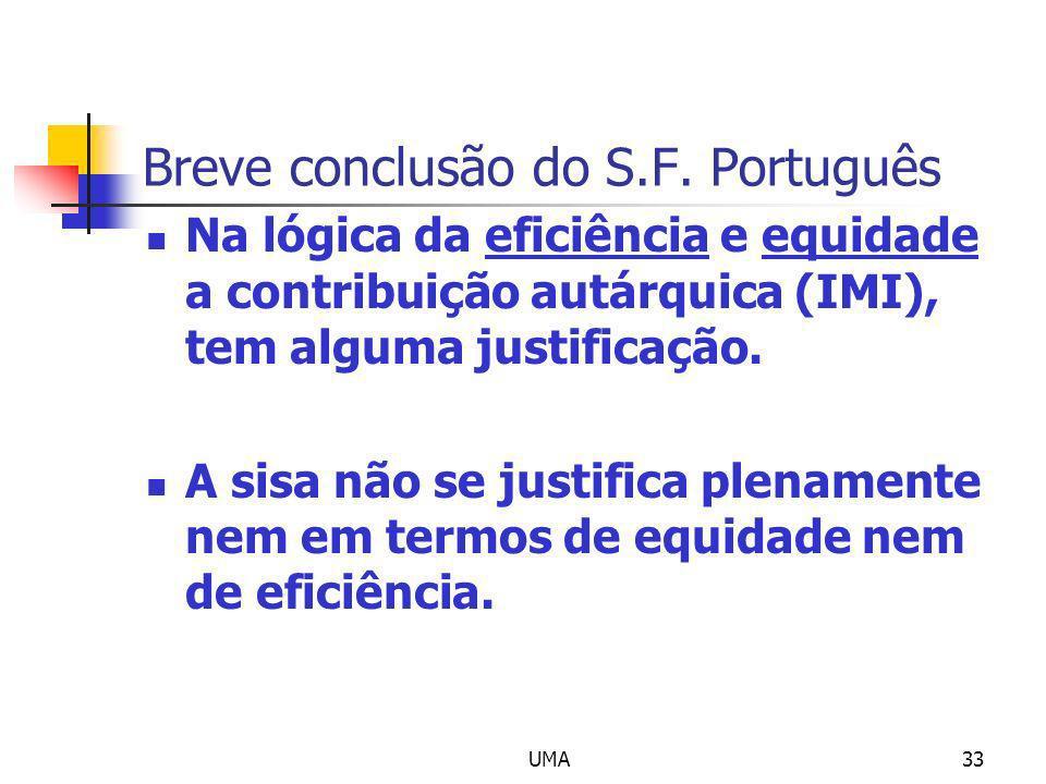 UMA33 Breve conclusão do S.F. Português Na lógica da eficiência e equidade a contribuição autárquica (IMI), tem alguma justificação. A sisa não se jus