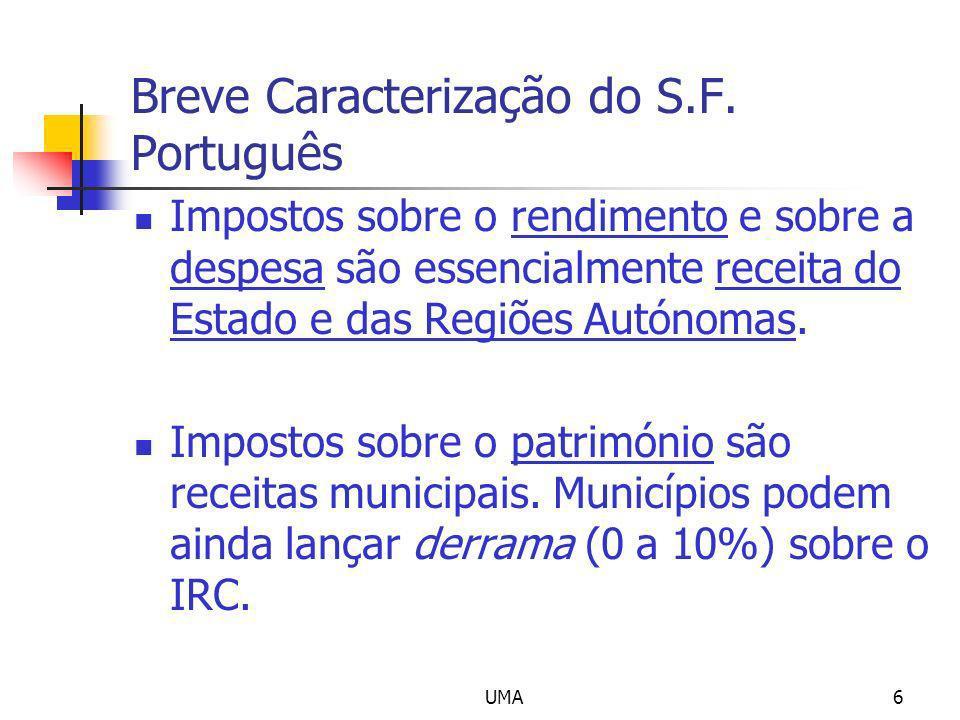 UMA6 Breve Caracterização do S.F. Português Impostos sobre o rendimento e sobre a despesa são essencialmente receita do Estado e das Regiões Autónomas