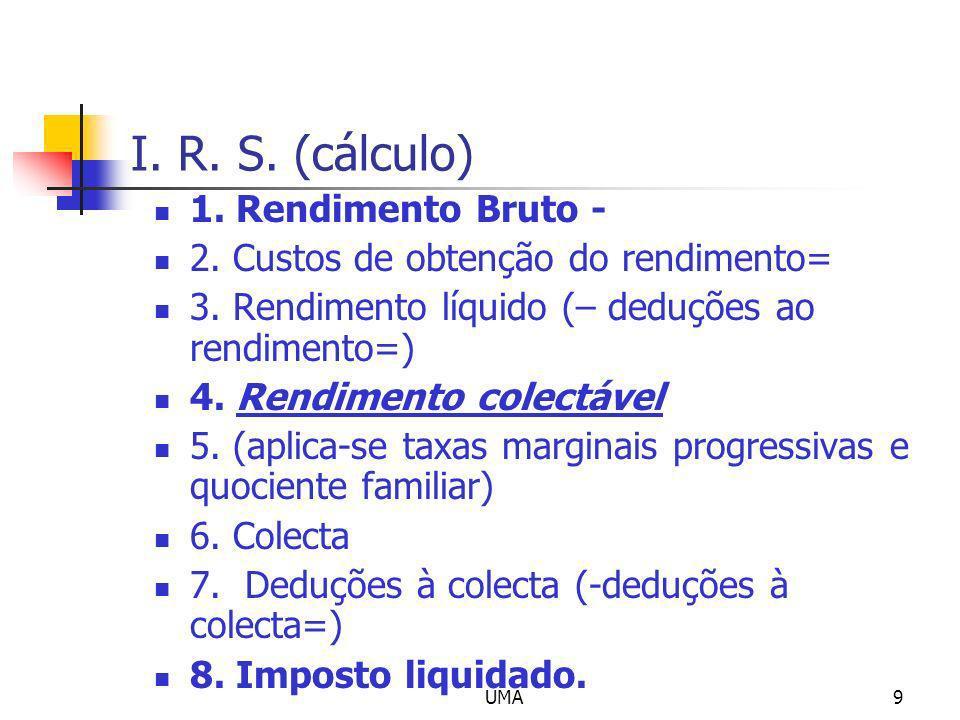 UMA9 I. R. S. (cálculo) 1. Rendimento Bruto - 2. Custos de obtenção do rendimento= 3. Rendimento líquido (– deduções ao rendimento=) 4. Rendimento col