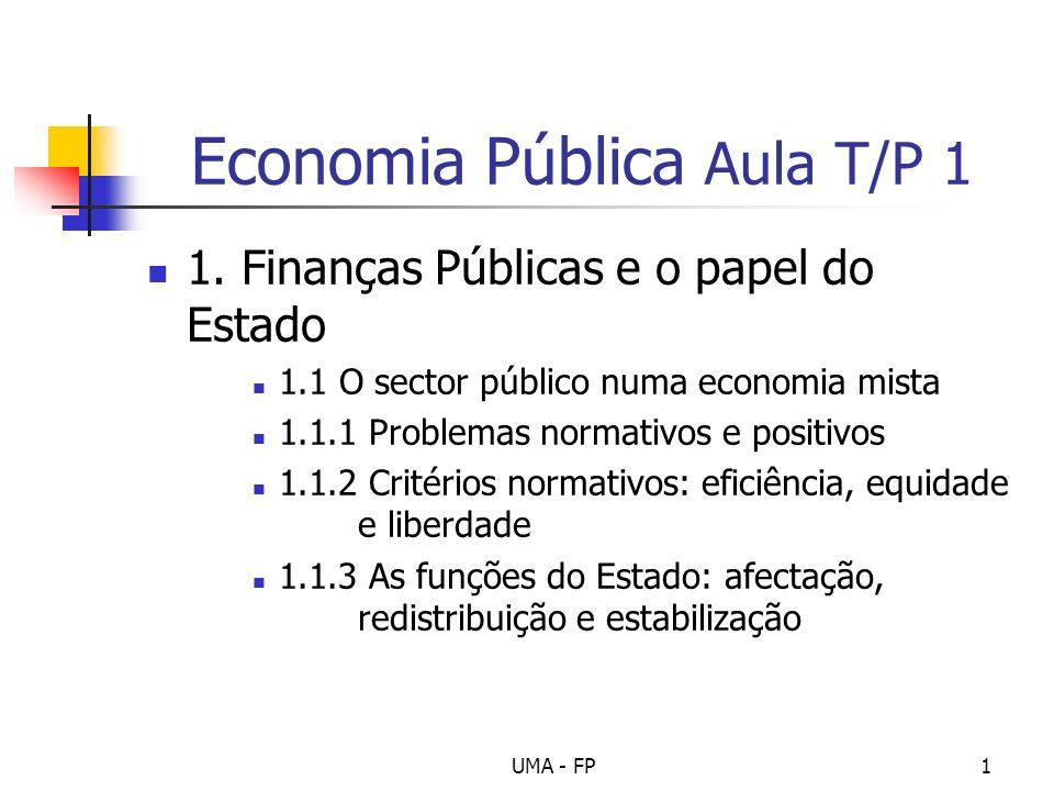UMA - FP1 Economia Pública Aula T/P 1 1. Finanças Públicas e o papel do Estado 1.1 O sector público numa economia mista 1.1.1 Problemas normativos e p