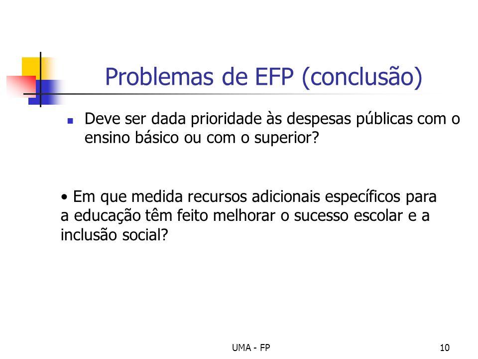 UMA - FP10 Problemas de EFP (conclusão) Deve ser dada prioridade às despesas públicas com o ensino básico ou com o superior? Em que medida recursos ad