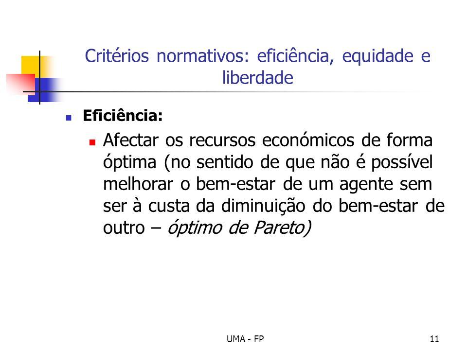 UMA - FP11 Critérios normativos: eficiência, equidade e liberdade Eficiência: Afectar os recursos económicos de forma óptima (no sentido de que não é