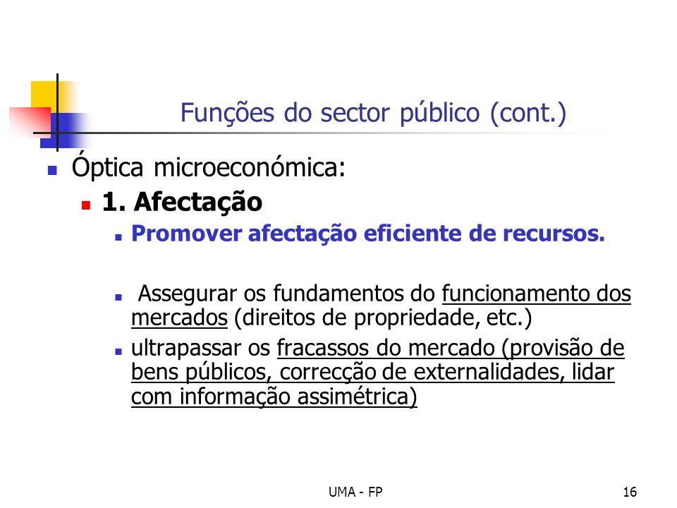 UMA - FP16 Funções do sector público (cont.) Óptica microeconómica: 1. Afectação Promover afectação eficiente de recursos. Assegurar os fundamentos do