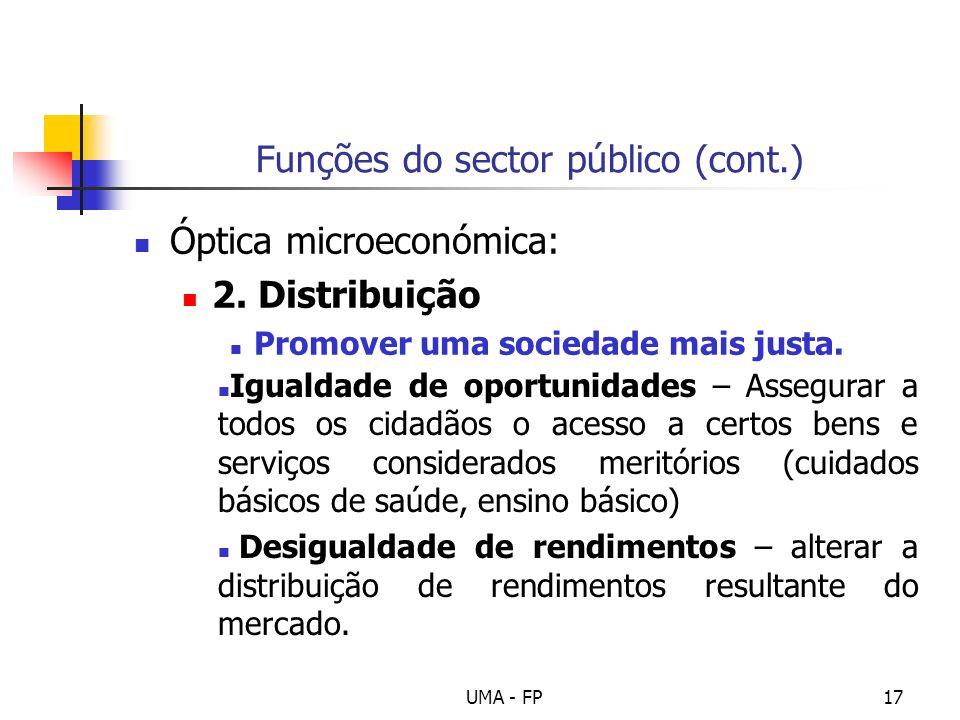 UMA - FP17 Funções do sector público (cont.) Óptica microeconómica: 2. Distribuição Promover uma sociedade mais justa. Igualdade de oportunidades – As