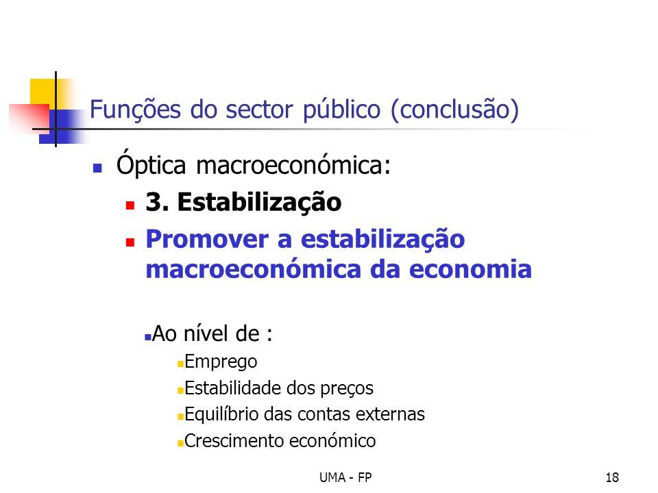UMA - FP18 Funções do sector público (conclusão) Óptica macroeconómica: 3. Estabilização Promover a estabilização macroeconómica da economia Ao nível