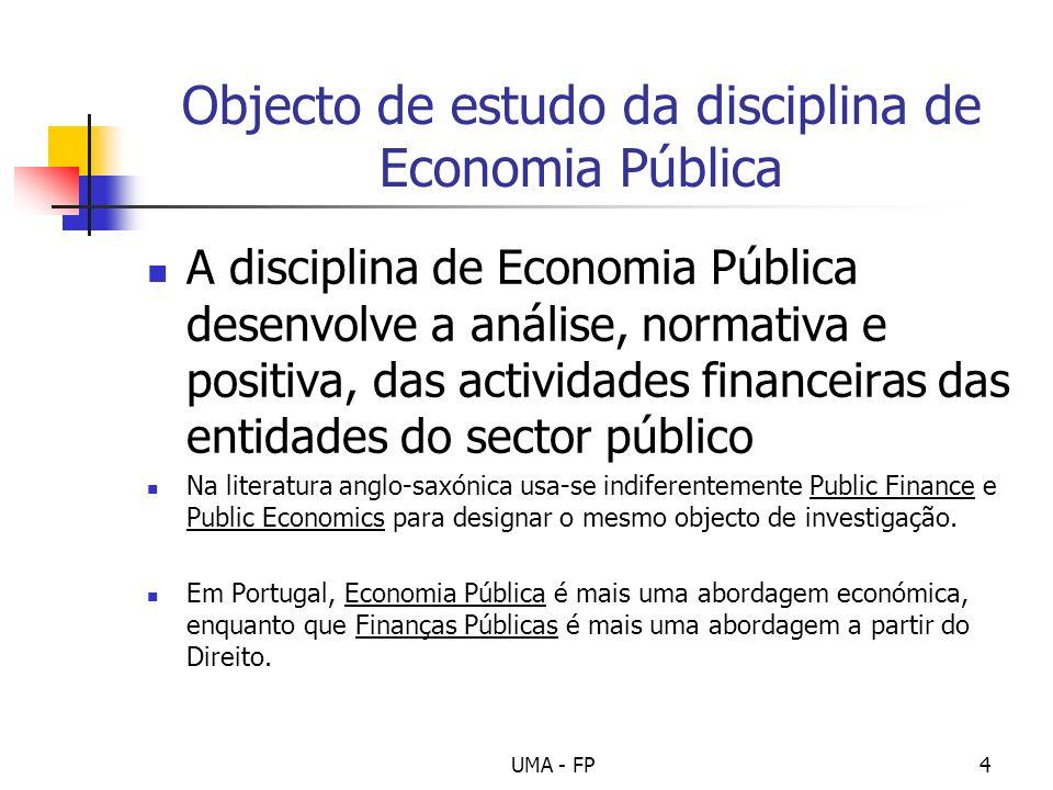 UMA - FP4 Objecto de estudo da disciplina de Economia Pública A disciplina de Economia Pública desenvolve a análise, normativa e positiva, das activid