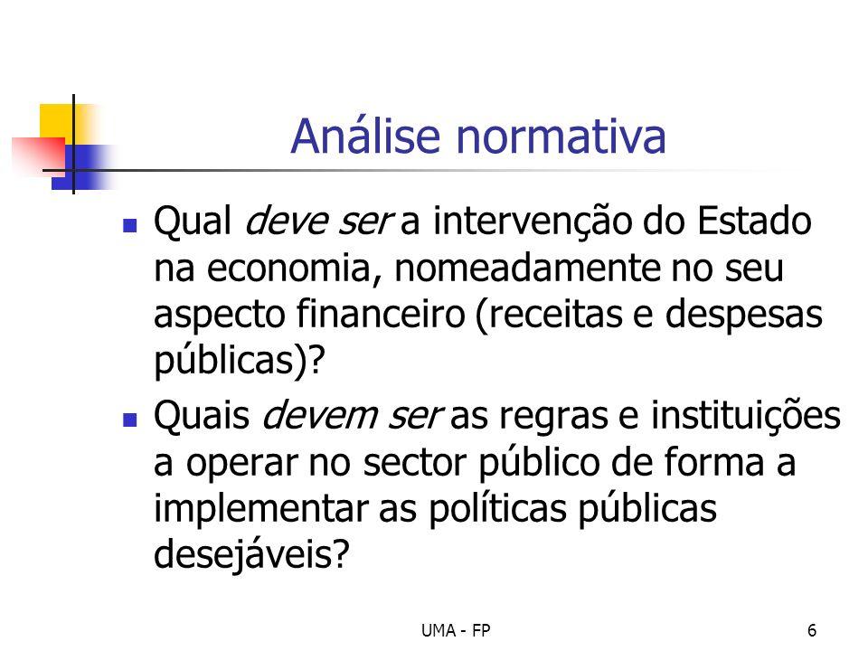 UMA - FP6 Análise normativa Qual deve ser a intervenção do Estado na economia, nomeadamente no seu aspecto financeiro (receitas e despesas públicas)?
