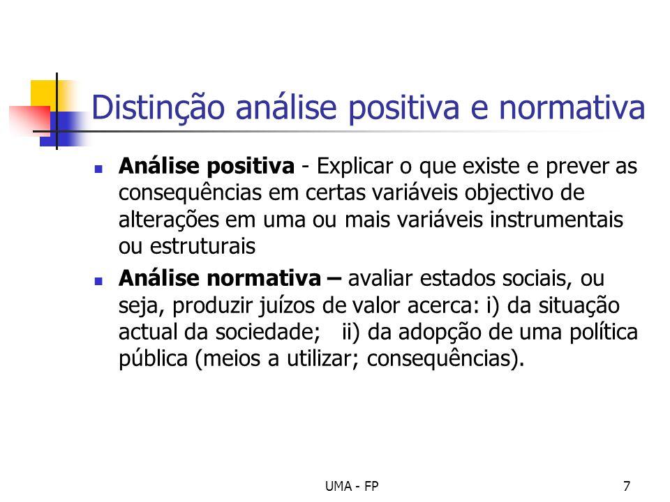 UMA - FP7 Distinção análise positiva e normativa Análise positiva - Explicar o que existe e prever as consequências em certas variáveis objectivo de a
