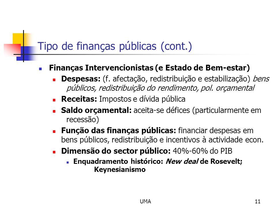 UMA11 Tipo de finanças públicas (cont.) Finanças Intervencionistas (e Estado de Bem-estar) Despesas: (f. afectação, redistribuição e estabilização) be