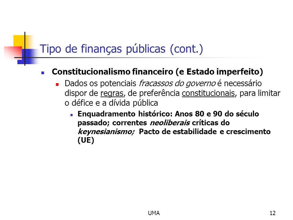 UMA12 Tipo de finanças públicas (cont.) Constitucionalismo financeiro (e Estado imperfeito) Dados os potenciais fracassos do governo é necessário disp