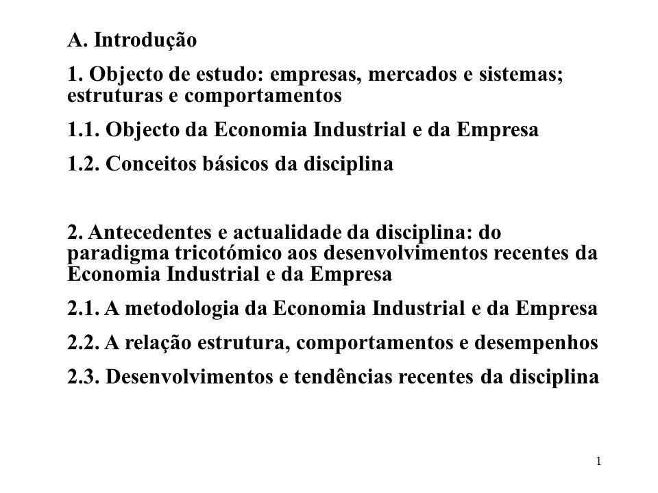 1 A. Introdução 1. Objecto de estudo: empresas, mercados e sistemas; estruturas e comportamentos 1.1. Objecto da Economia Industrial e da Empresa 1.2.