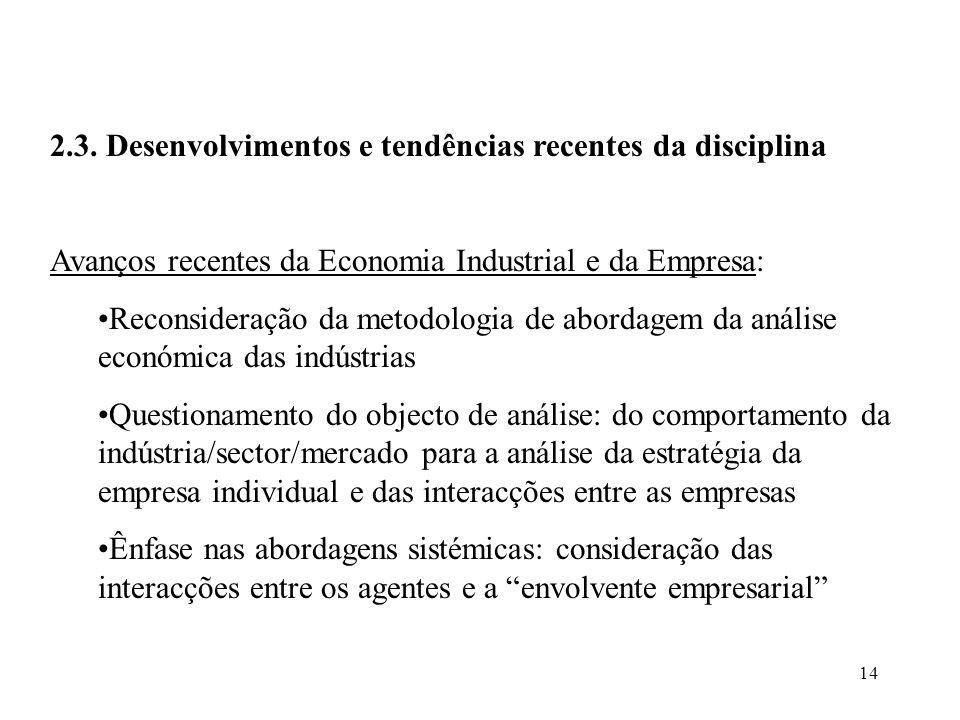 14 2.3. Desenvolvimentos e tendências recentes da disciplina Avanços recentes da Economia Industrial e da Empresa: Reconsideração da metodologia de ab