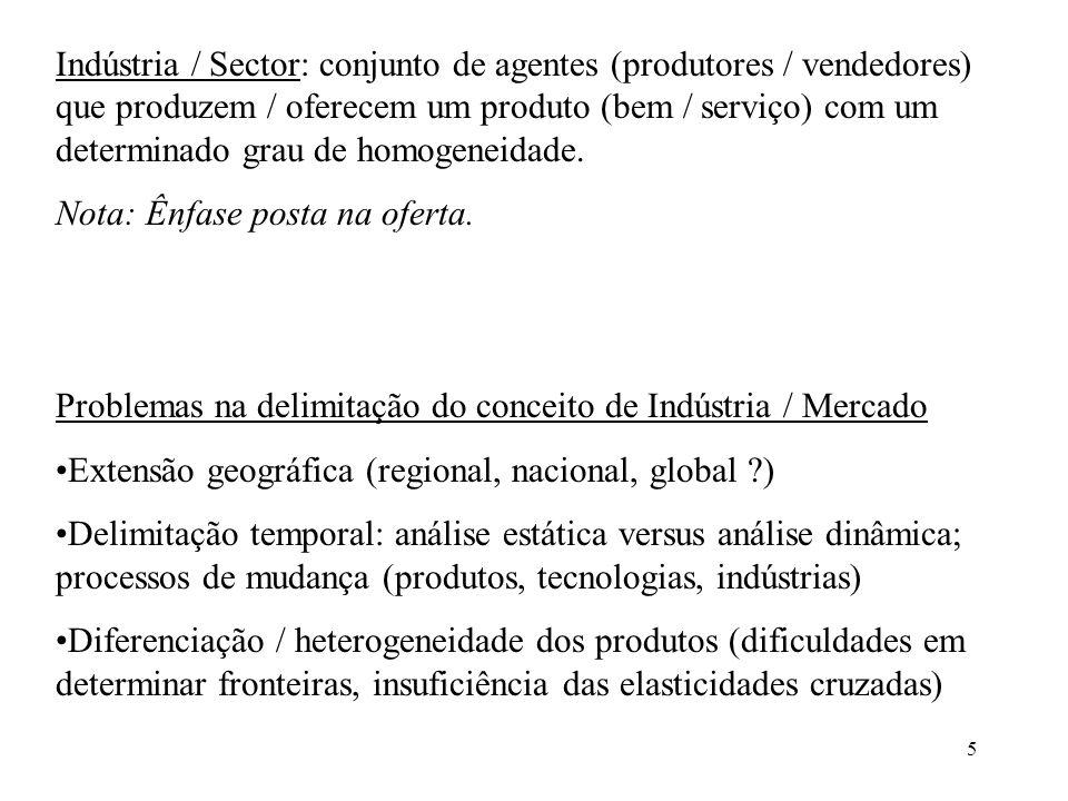 5 Indústria / Sector: conjunto de agentes (produtores / vendedores) que produzem / oferecem um produto (bem / serviço) com um determinado grau de homo