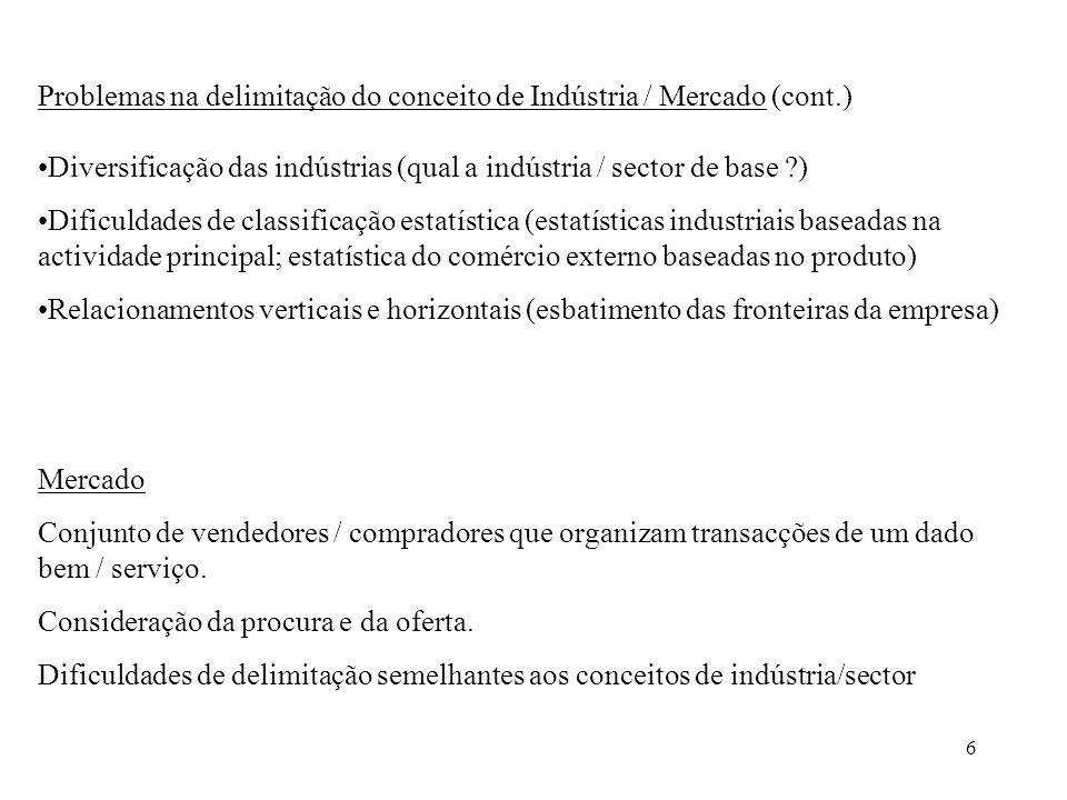 6 Problemas na delimitação do conceito de Indústria / Mercado (cont.) Diversificação das indústrias (qual a indústria / sector de base ?) Dificuldades