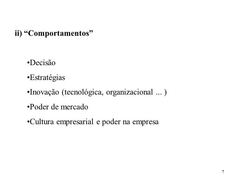 7 ii) Comportamentos Decisão Estratégias Inovação (tecnológica, organizacional... ) Poder de mercado Cultura empresarial e poder na empresa