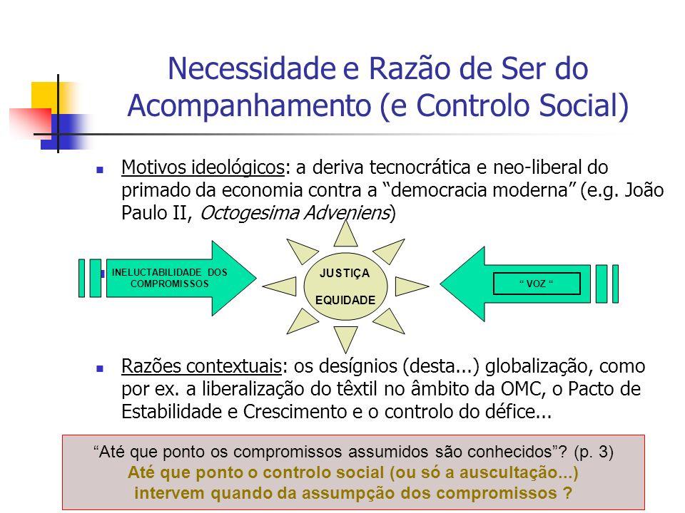 Necessidade e Razão de Ser do Acompanhamento (e Controlo Social) Motivos ideológicos: a deriva tecnocrática e neo-liberal do primado da economia contra a democracia moderna (e.g.