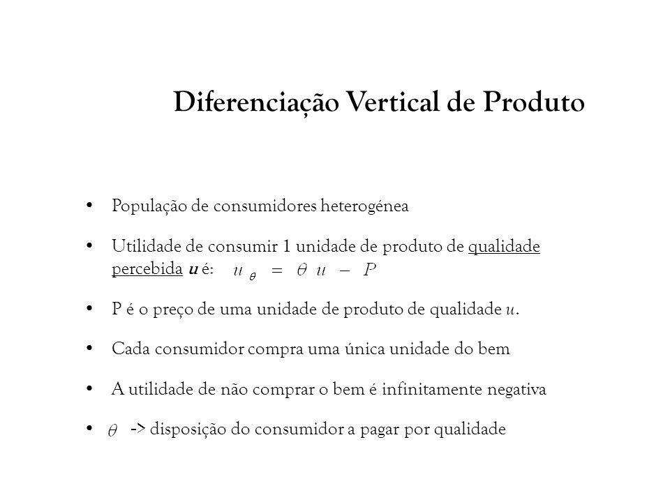20 Diferenciação Vertical de Produto População de consumidores heterogénea Utilidade de consumir 1 unidade de produto de qualidade percebida u é: P é