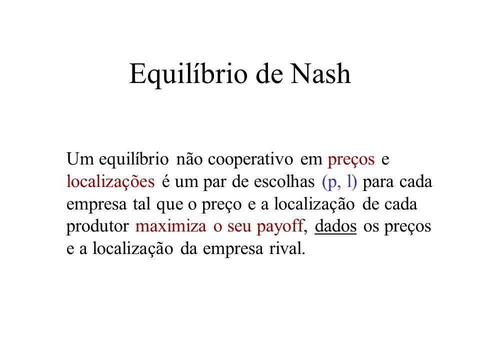 8 Equilíbrio de Nash Um equilíbrio não cooperativo em preços e localizações é um par de escolhas (p, l) para cada empresa tal que o preço e a localiza