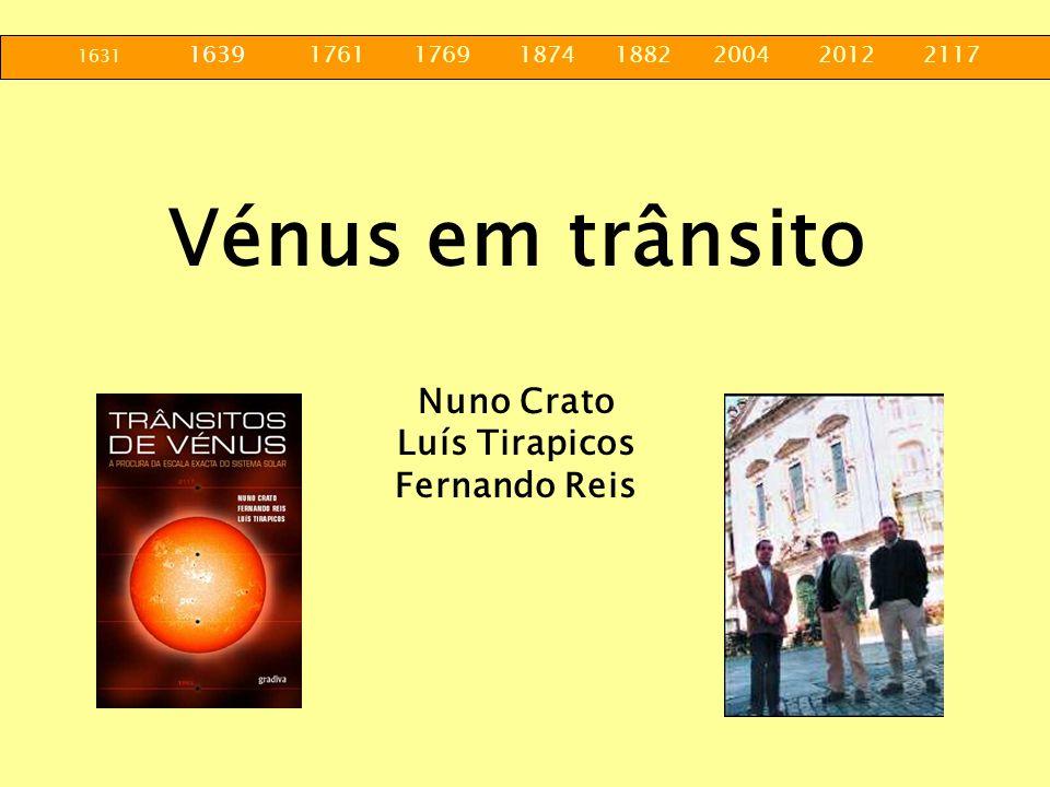 1631 1639 1761 1769 1874 1882 2004 2012 2117 Vénus em trânsito Nuno Crato Luís Tirapicos Fernando Reis
