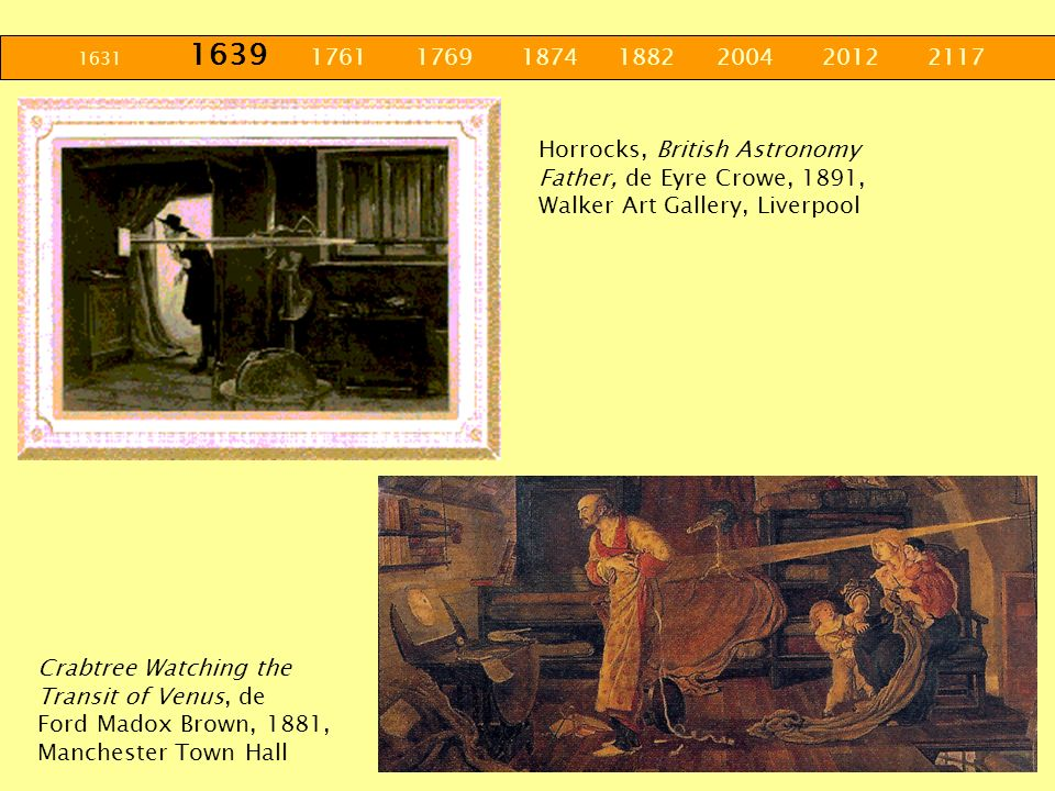 1631 1639 1761 1769 1874 1882 2004 2012 2117 Horrocks, British Astronomy Father, de Eyre Crowe, 1891, Walker Art Gallery, Liverpool Crabtree Watching
