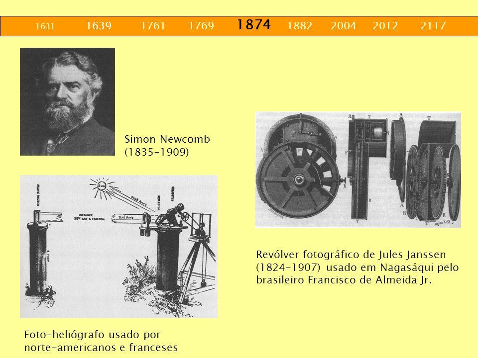 1631 1639 1761 1769 1874 1882 2004 2012 2117 Simon Newcomb (1835-1909) Foto-heliógrafo usado por norte-americanos e franceses Revólver fotográfico de