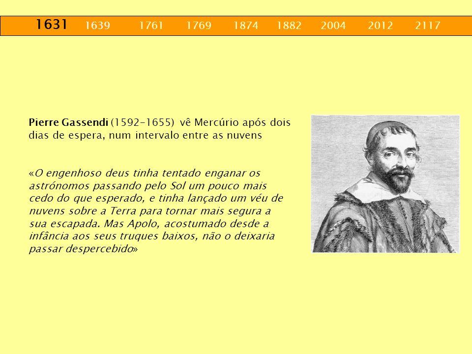 1631 1639 1761 1769 1874 1882 2004 2012 2117 Pierre Gassendi (1592-1655) vê Mercúrio após dois dias de espera, num intervalo entre as nuvens «O engenh