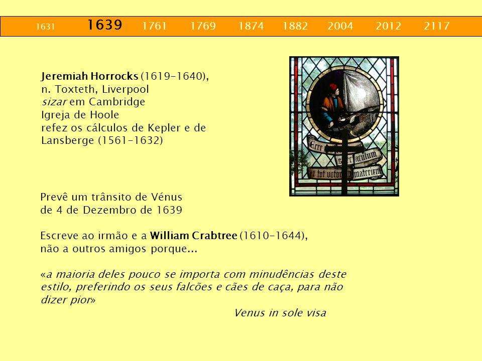 Jeremiah Horrocks (1619-1640), n. Toxteth, Liverpool sizar em Cambridge Igreja de Hoole refez os cálculos de Kepler e de Lansberge (1561-1632) Prevê u