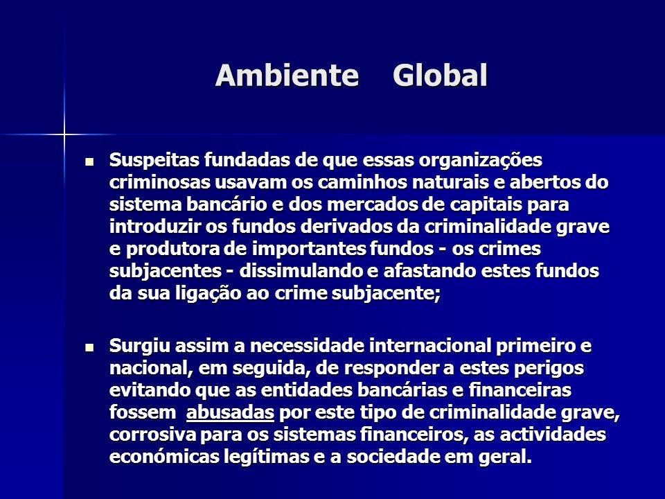 Ambiente Global Suspeitas fundadas de que essas organizações criminosas usavam os caminhos naturais e abertos do sistema bancário e dos mercados de ca