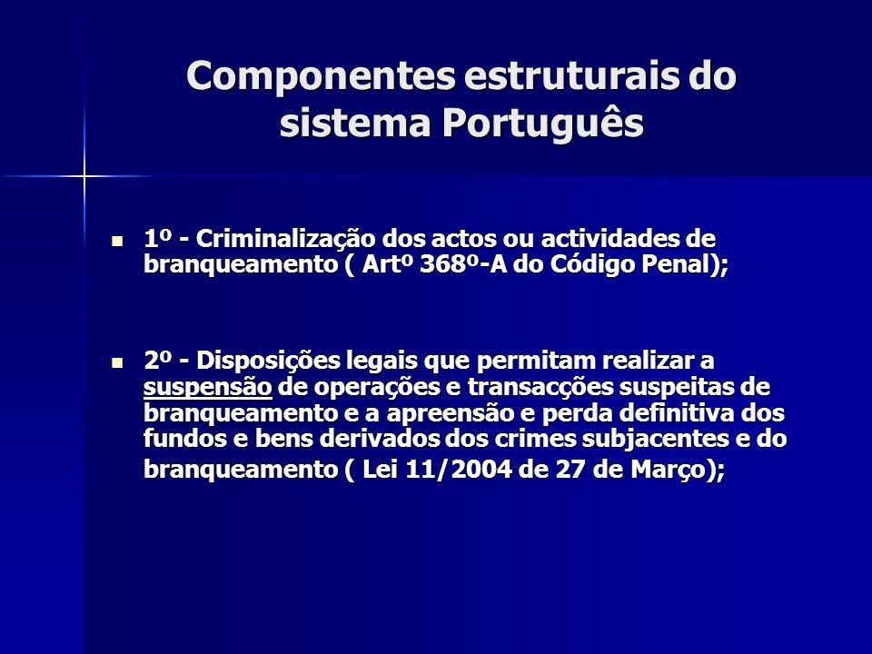 Componentes estruturais do sistema Português 1º - Criminalização dos actos ou actividades de branqueamento ( Artº 368º-A do Código Penal); 1º - Crimin