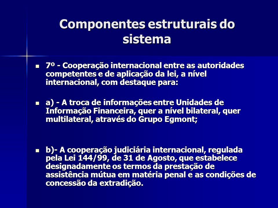 Componentes estruturais do sistema 7º - Cooperação internacional entre as autoridades competentes e de aplicação da lei, a nível internacional, com de