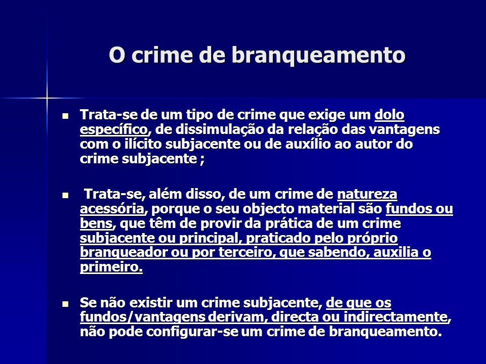 O crime de branqueamento Trata-se de um tipo de crime que exige um dolo específico, de dissimulação da relação das vantagens com o ilícito subjacente