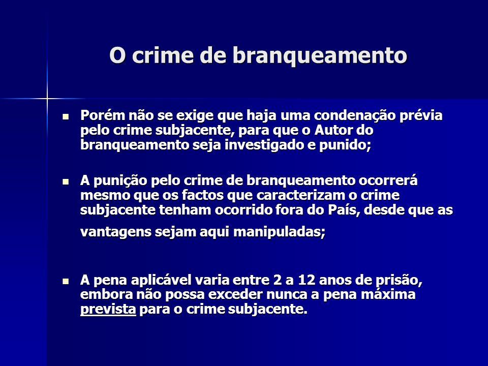 O crime de branqueamento Porém não se exige que haja uma condenação prévia pelo crime subjacente, para que o Autor do branqueamento seja investigado e