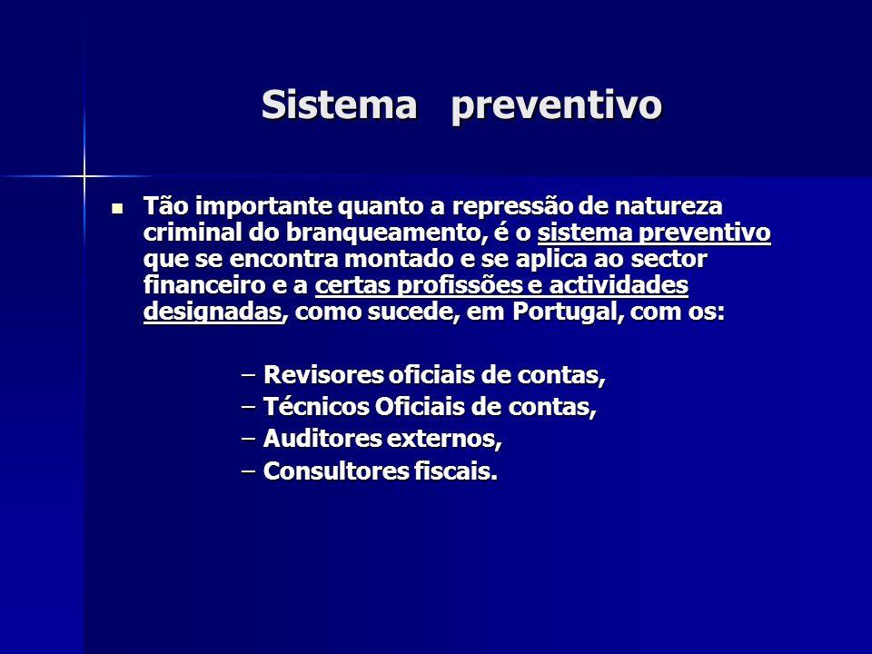 Sistema preventivo Tão importante quanto a repressão de natureza criminal do branqueamento, é o sistema preventivo que se encontra montado e se aplica