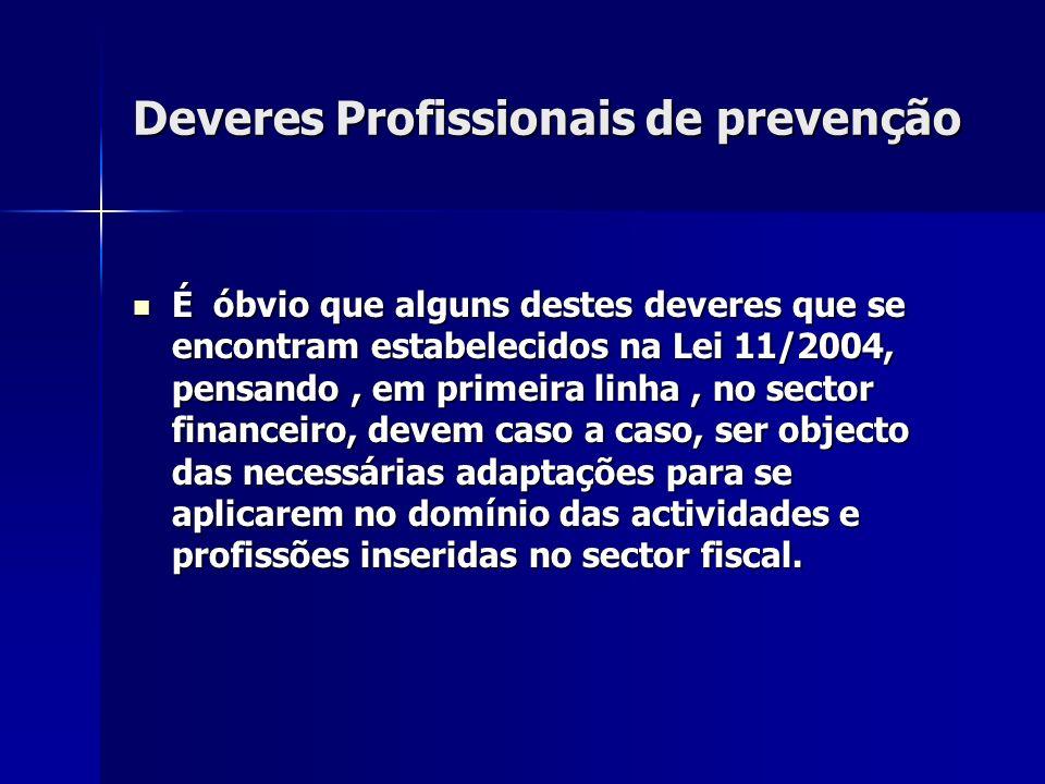 Deveres Profissionais de prevenção É óbvio que alguns destes deveres que se encontram estabelecidos na Lei 11/2004, pensando, em primeira linha, no se