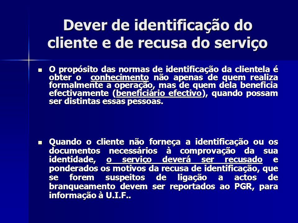 Dever de identificação do cliente e de recusa do serviço O propósito das normas de identificação da clientela é obter o conhecimento não apenas de que