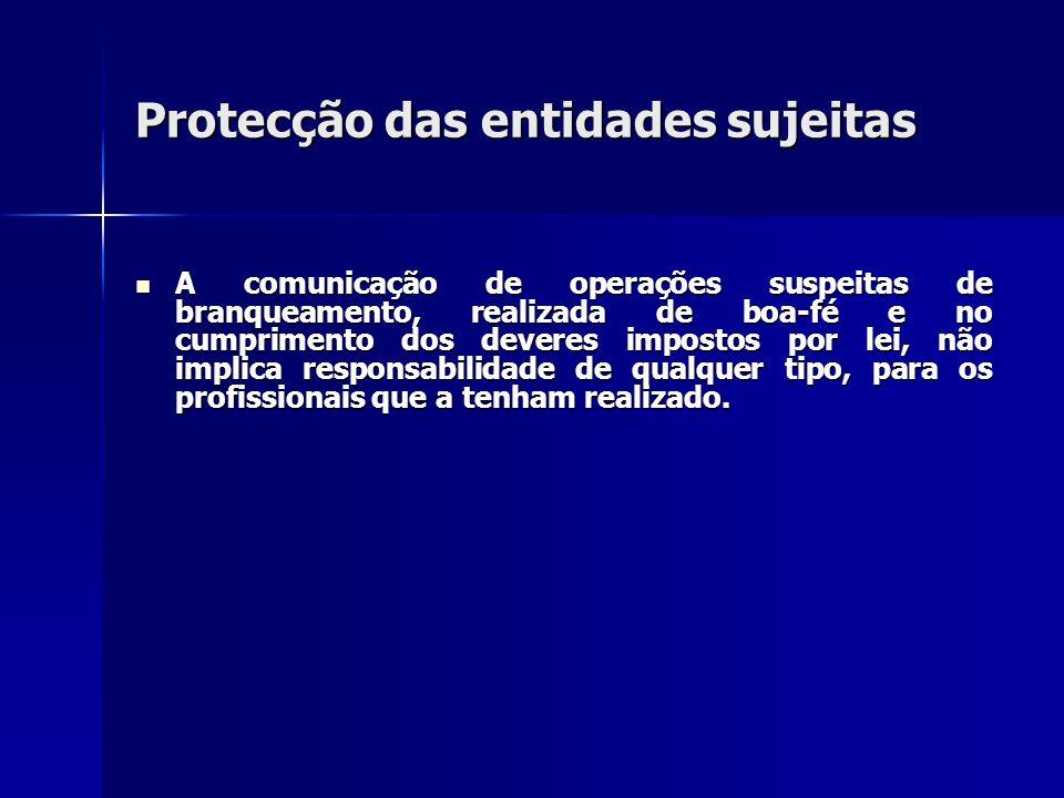 Protecção das entidades sujeitas A comunicação de operações suspeitas de branqueamento, realizada de boa-fé e no cumprimento dos deveres impostos por
