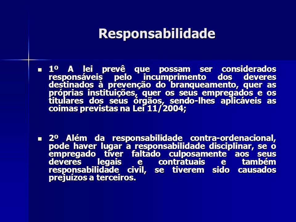 Responsabilidade 1º A lei prevê que possam ser considerados responsáveis pelo incumprimento dos deveres destinados à prevenção do branqueamento, quer