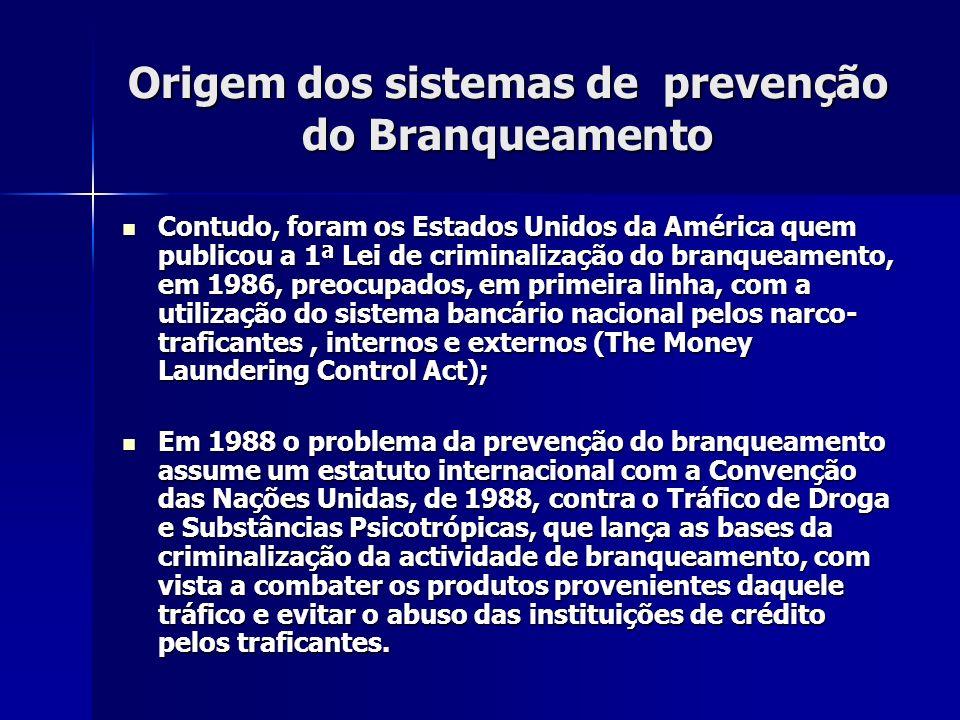 Origem dos sistemas de prevenção do Branqueamento Contudo, foram os Estados Unidos da América quem publicou a 1ª Lei de criminalização do branqueament