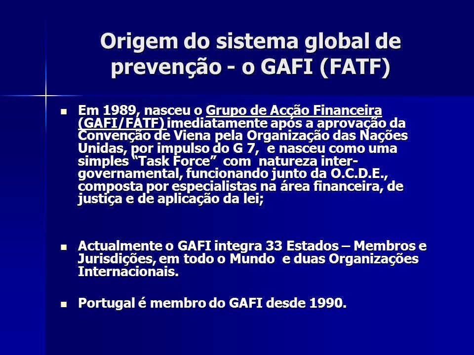 Origem do sistema global de prevenção - o GAFI (FATF) Em 1989, nasceu o Grupo de Acção Financeira (GAFI/FATF) imediatamente após a aprovação da Conven