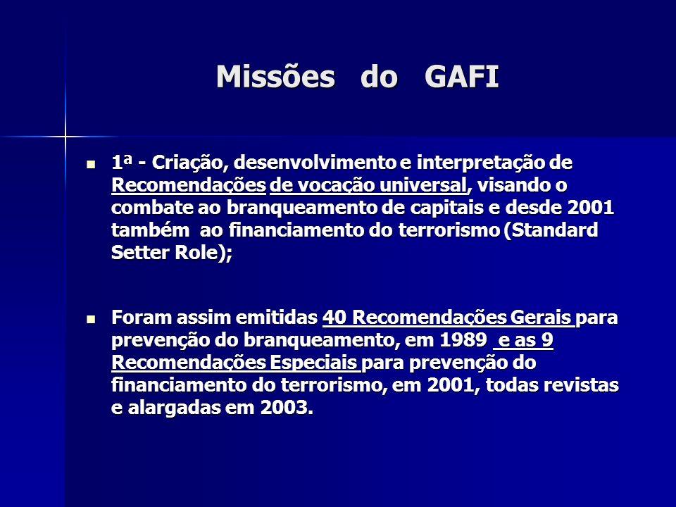 Missões do GAFI 1ª - Criação, desenvolvimento e interpretação de Recomendações de vocação universal, visando o combate ao branqueamento de capitais e