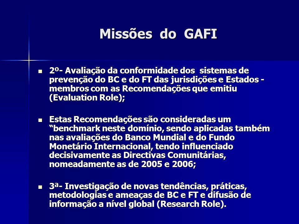 Missões do GAFI 2º- Avaliação da conformidade dos sistemas de prevenção do BC e do FT das jurisdições e Estados - membros com as Recomendações que emi