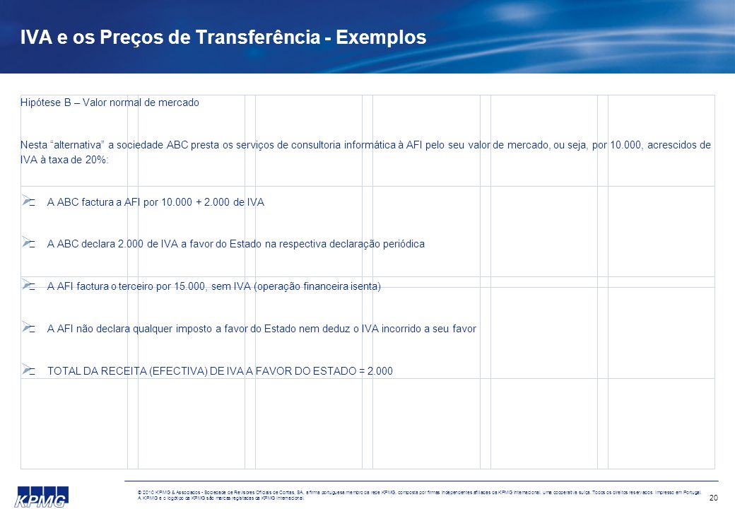 20 © 2010 KPMG & Associados - Sociedade de Revisores Oficiais de Contas, SA, a firma portuguesa membro da rede KPMG, composta por firmas independentes