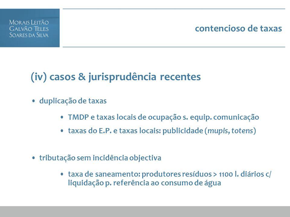 contencioso de taxas (iv) casos & jurisprudência recentes duplicação de taxas TMDP e taxas locais de ocupação s. equip. comunicação taxas do E.P. e ta