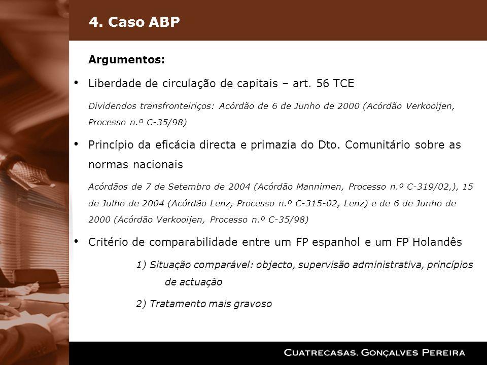 4. Caso ABP Argumentos: Liberdade de circulação de capitais – art. 56 TCE Dividendos transfronteiriços: Acórdão de 6 de Junho de 2000 (Acórdão Verkooi