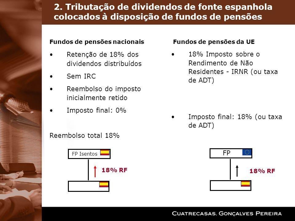 2. Tributação de dividendos de fonte espanhola colocados à disposição de fundos de pensões 18% RF FP Isentos FP 18% RF Fundos de pensões nacionais Ret
