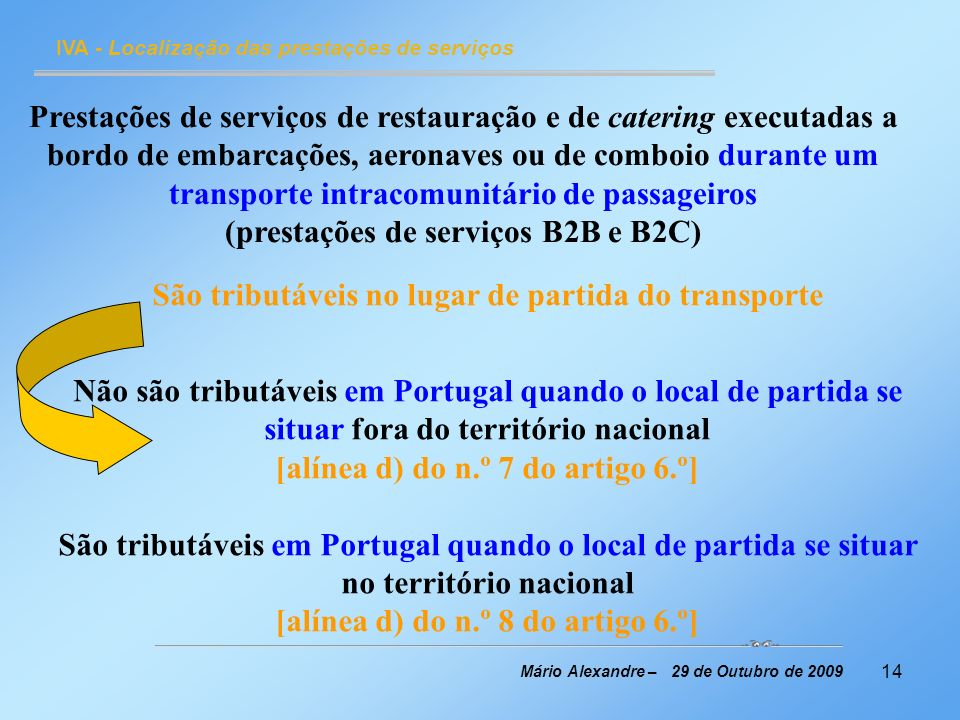 14 IVA - Localização das prestações de serviços Mário Alexandre – 29 de Outubro de 2009 Prestações de serviços de restauração e de catering executadas