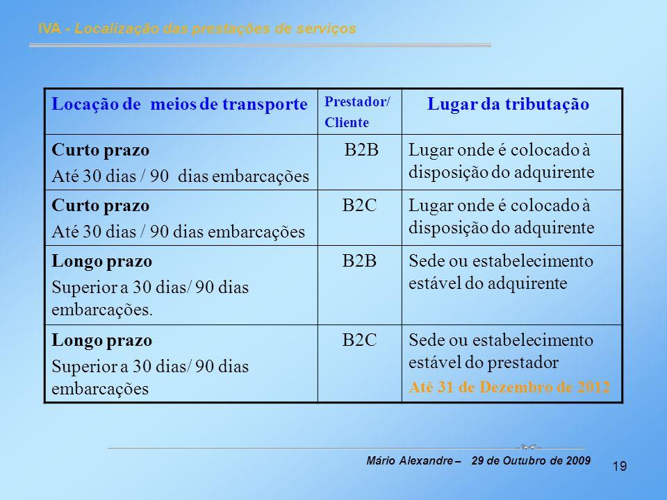 19 IVA - Localização das prestações de serviços Mário Alexandre – 29 de Outubro de 2009 Locação de meios de transporte Prestador/ Cliente Lugar da tri