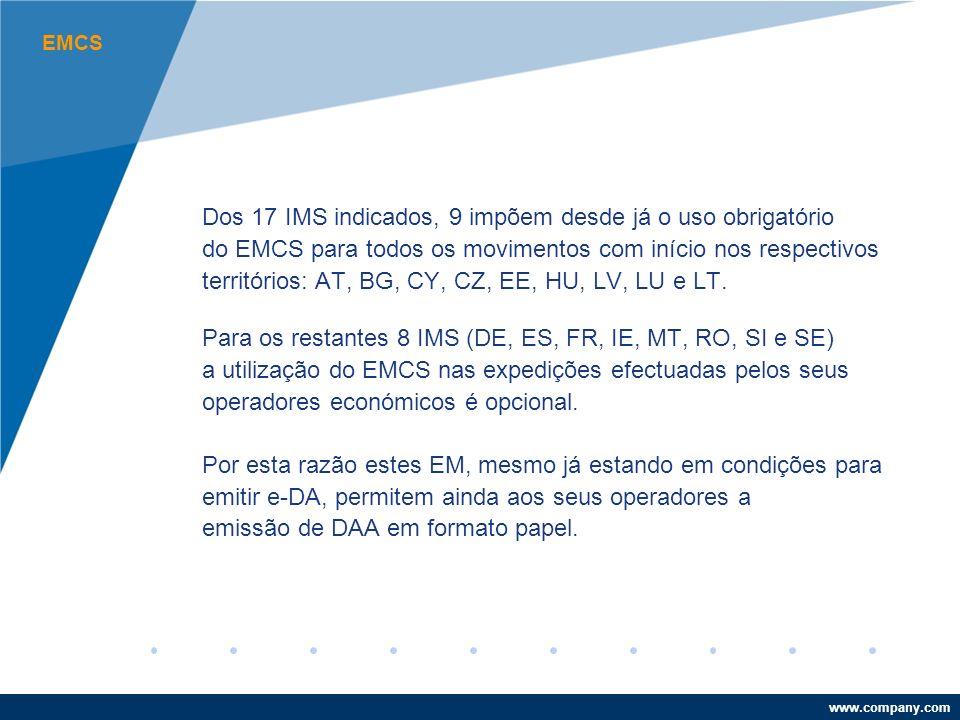 www.company.com EMCS Dos 17 IMS indicados, 9 impõem desde já o uso obrigatório do EMCS para todos os movimentos com início nos respectivos territórios: AT, BG, CY, CZ, EE, HU, LV, LU e LT.